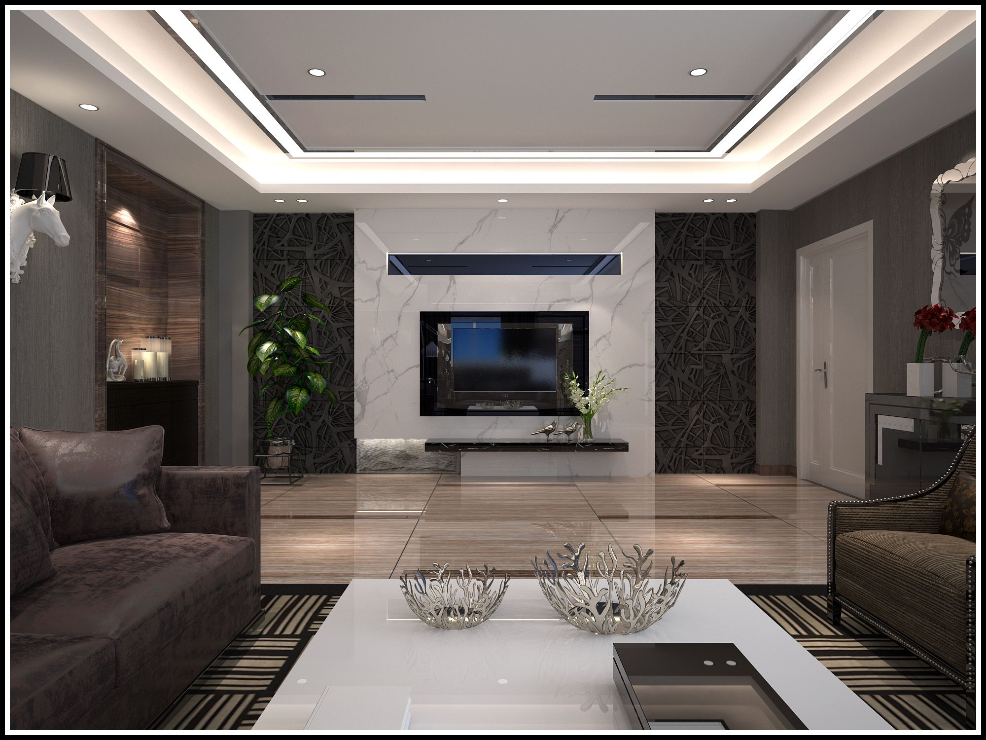 大面积的玻璃幕墙,室内外光光的四壁,毫无装饰的室内,理性的简洁,使