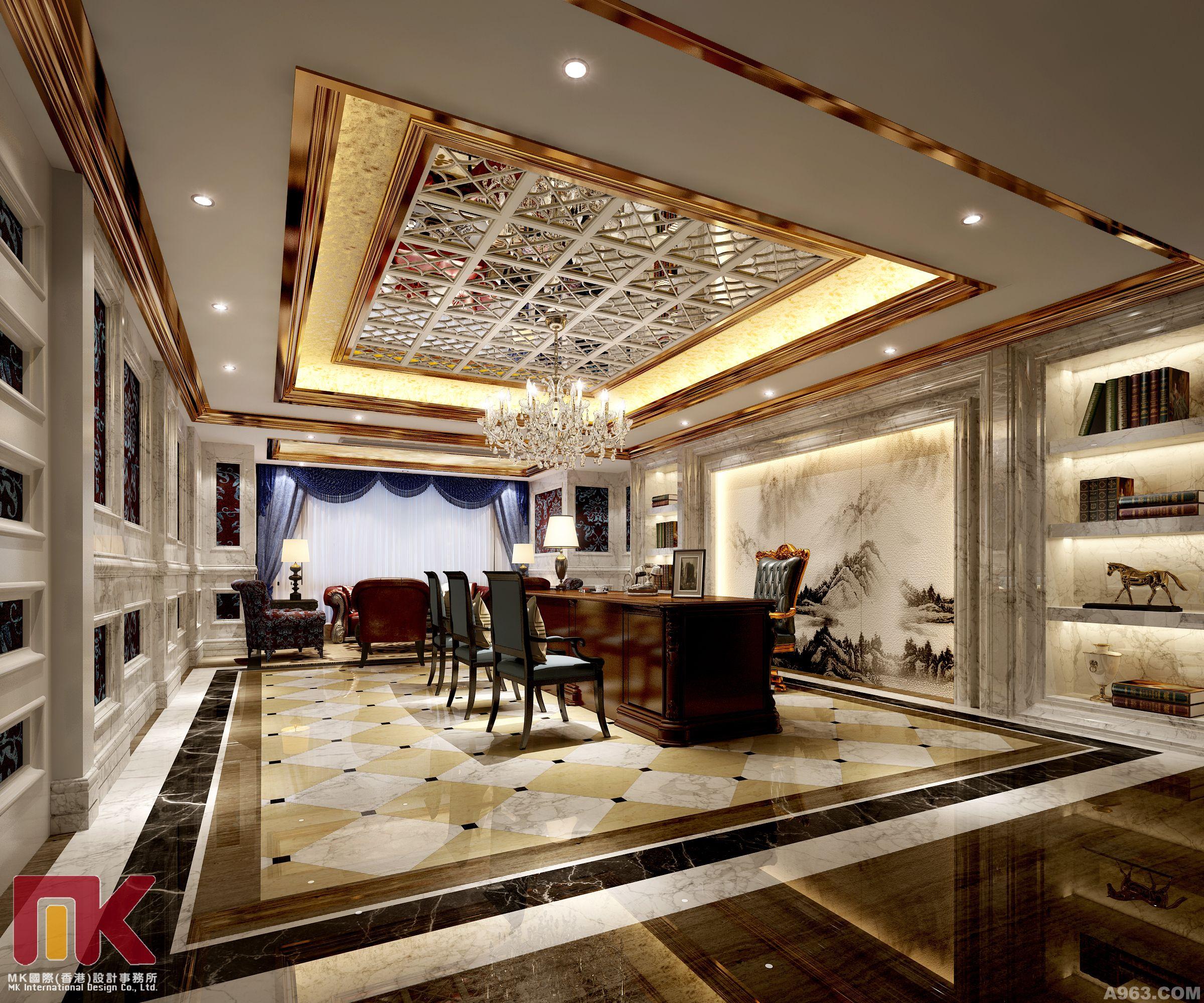 客厅黑钛金吊顶效果图