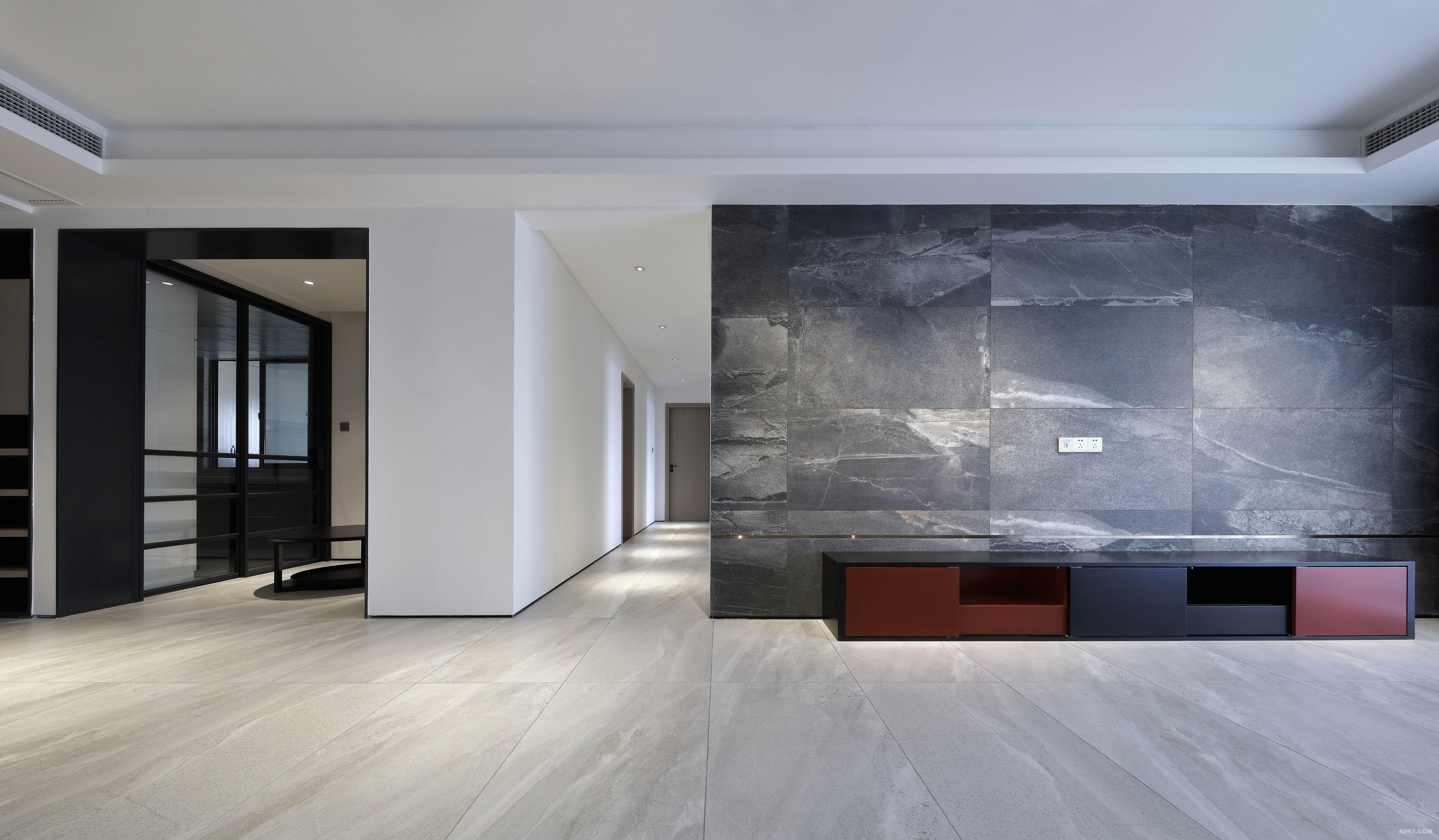 客厅 抽像有质感的材质配合窄边钛金拉丝面线条。为背景墙增加了细节。